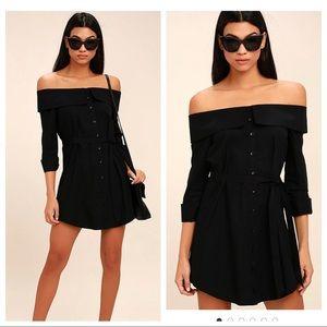 lulu's On Schedule Black Off-the-Shoulder Dress L